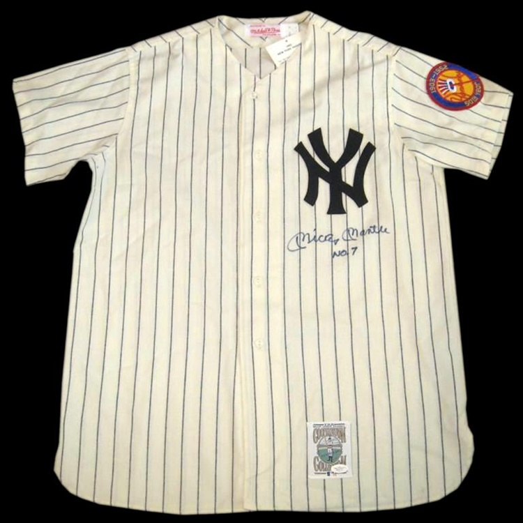 Mickey Mantle No. 7 Autographed New York Yankees Mitchell   Ness ... b5596529f41