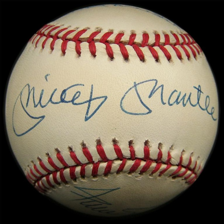 mickey mantle willie mays and duke snider signed baseball psa dna