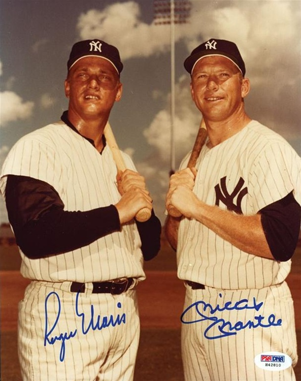 Psadna Graded Gem Mint 10 Mickey Mantle And Roger Maris Signed 8 X 10 Photo From The Whitey Ford Collection Psadna