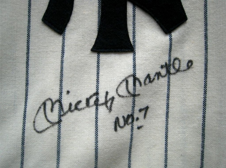 reputable site 99f91 20d58 Upper Deck Authenticated Mickey Mantle No. 7 Autographed New York Yankees  Mitchell & Ness Pinstriped Flannel Replica Jersey (Limited Edition #44/536)  ...